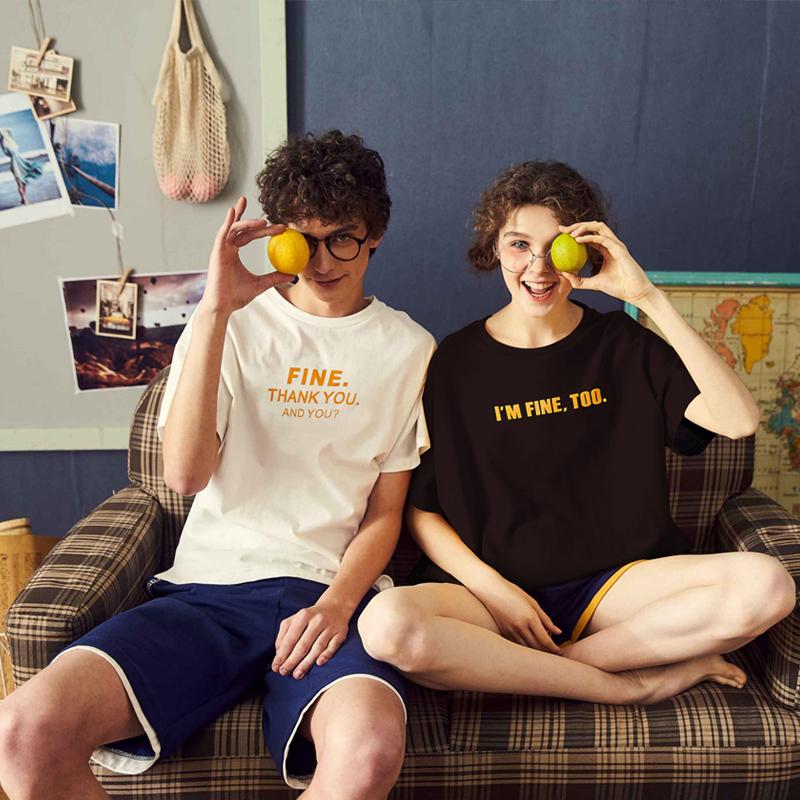 唐狮2018夏装新款情侣白色短袖T恤男女韩版潮流字母宽松半袖上衣