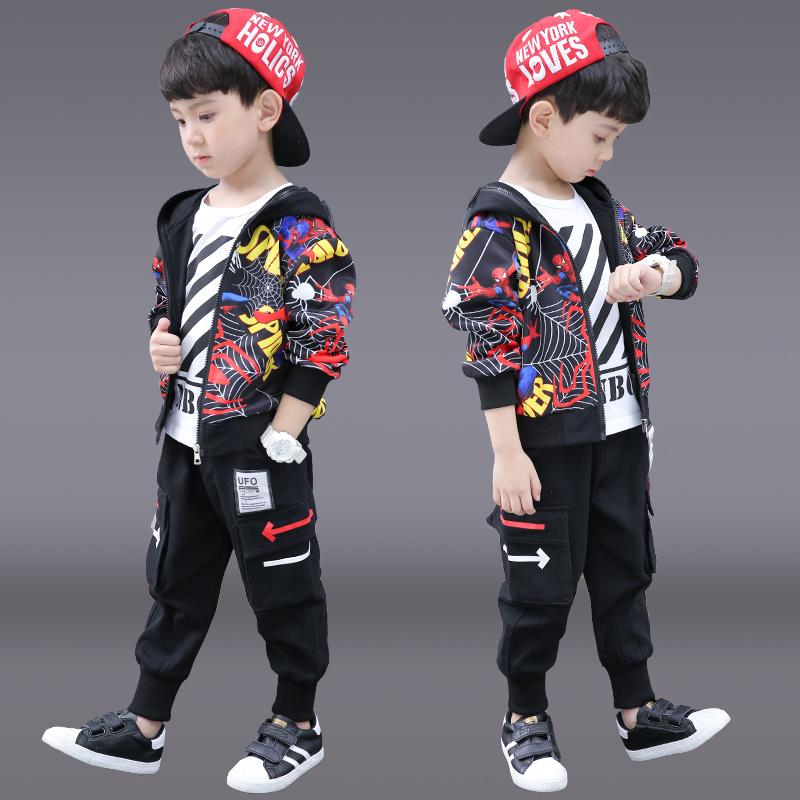 Childrens autumn boys suit 2021 new style Spiderman boys Autumn Korean handsome spring and Autumn