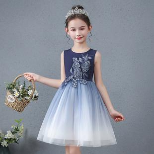 女童夏裝新款洋氣星空漸變連衣裙公主小女孩禮服蓬蓬紗裙子兒童裙