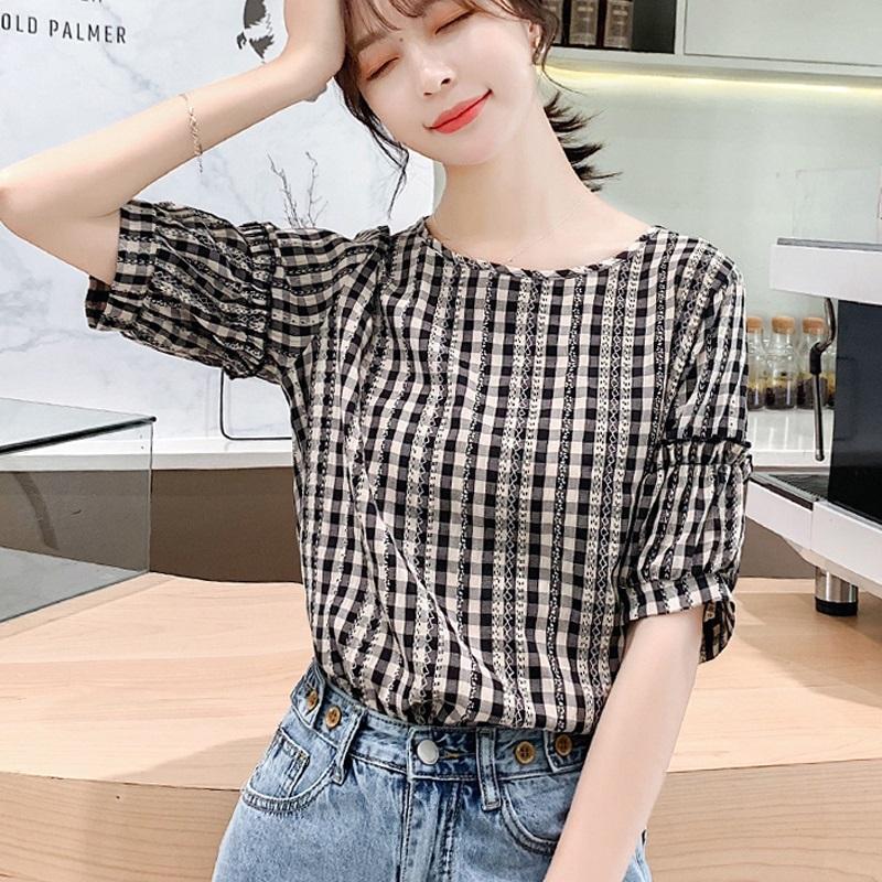 Chiffon womens short sleeve summer 2020 new foreign style loose Korean Plaid fashion small shirt womens versatile top trend