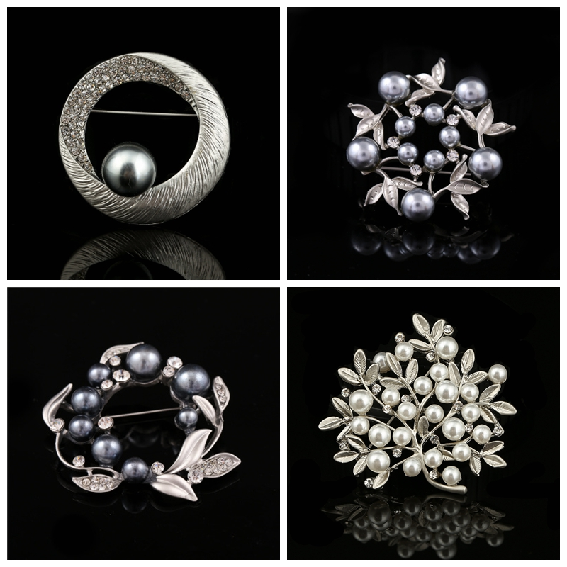 Package post Korean jewelry pearl autumn winter fashion brooch brooch pin sweater cardigan collar pin accessories women Cape button