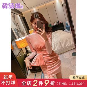 韩语琳V领连衣裙女春装2020新款韩版长袖包臀裙裙子粉色露背短裙