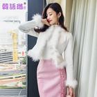 韩语琳空间2018春季女装复古名媛修身长袖短款开衫毛呢小外套