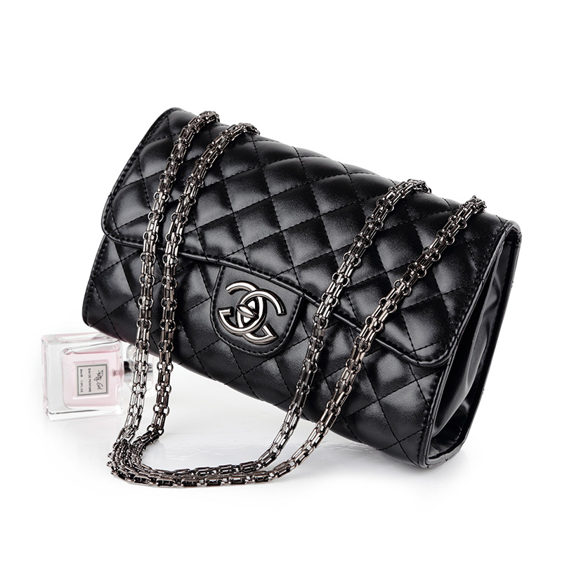 Xiaoxiangfeng leather bag 2020 new Korean womens bag rhombic lattice chain bag Single Shoulder Messenger Bag Mini Bag