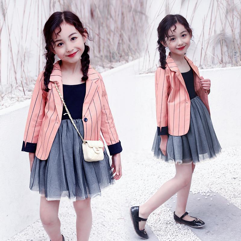 2019秋季新款女童童装条纹西装网纱裙套装110-160码197403