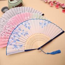 扇子折扇中国风女式古风流苏夏季随身古典古装古代汉服折叠小竹扇