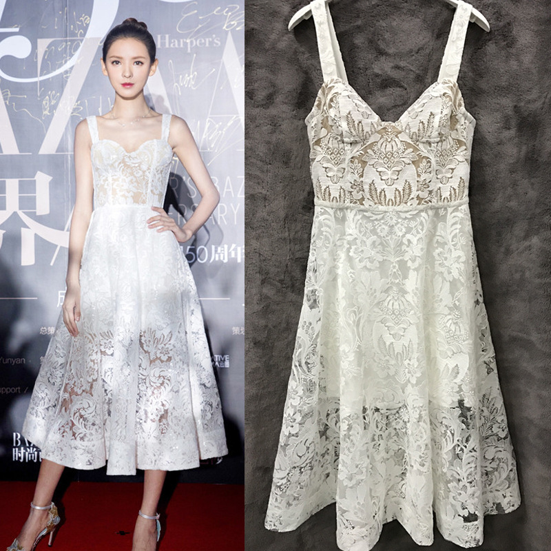 Hong Kong, South Korea, France Zhang Yuxi star with Sequin lace translucent chest Cup A-line sun skirt