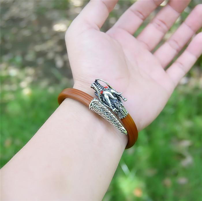天然鸡血藤手镯男女款西藏野生药藤民族风925纯银龙头木镯金刚藤