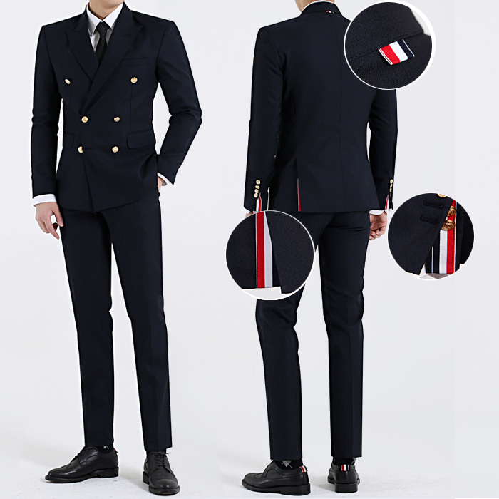 Korean mens suit Korean slim double breasted suit East Gate British style youth autumn