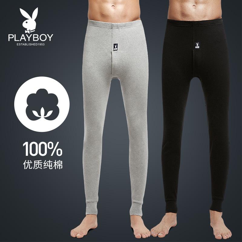 Playboy мужской осенние брюки чистый хлопок брюки тонкая модель рейтузы тонкий хлопок подкладка брюки теплый линия брюки мужской один