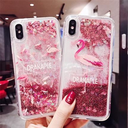 火烈鸟液体闪粉流沙苹果iPhonexsmax7plus手机壳6s防摔女8p硅胶套