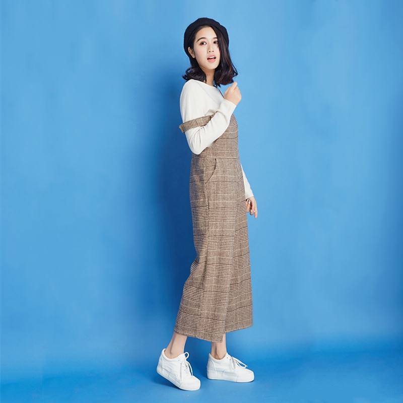 New products in spring and autumn 2021 thousand bird lattice college style versatile nine point lattice one-piece strap wide leg pants womens loose style