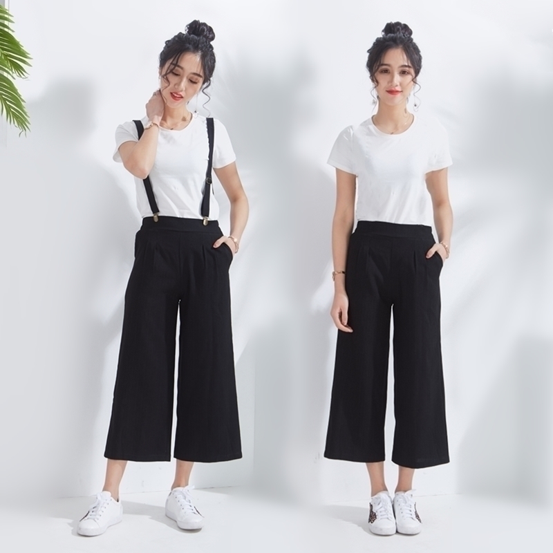 Spring and summer of 2020 Korean new product: wide leg strap, childrens nine point loose, students large one-piece sling