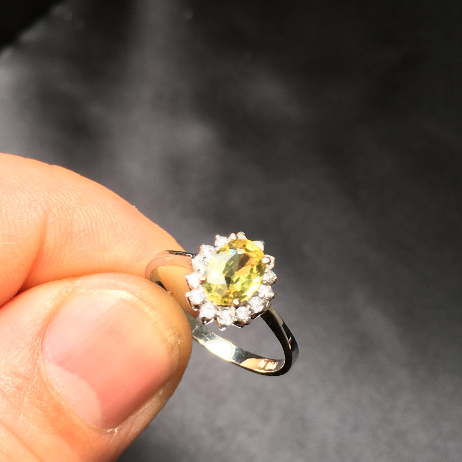 Changle mining area pure natural unburned yellow quality sapphire bare stone inlaid 18K platinum ring special package
