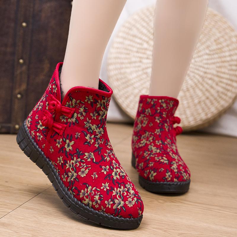 冬季新款女棉鞋加绒加厚保暖防滑休闲女士雪地靴舒适中老年妈妈鞋