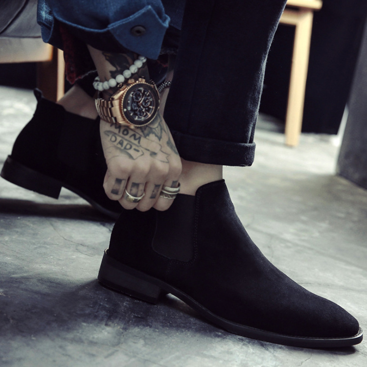 Chelsea Boots Mens leather autumn and winter Martin boots mens high top shoes mens short boots British style suede shoes mens shoes