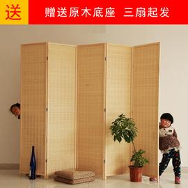 竹编实木屏风隔断折叠日式玄关客餐厅隔断卧室折屏阳台屏风试衣间