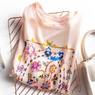 2021新款夏季真丝绸缎面短袖T恤女印花桑丝韩版宽松百搭显瘦上衣
