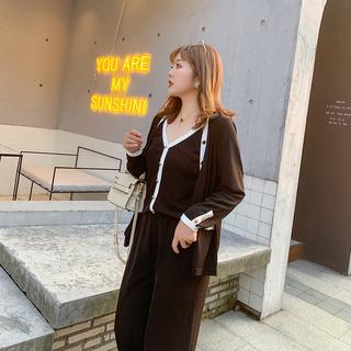 大姗姗家秋季时尚三件套韩版胖mm显瘦开衫吊带阔腿裤套装大码女装
