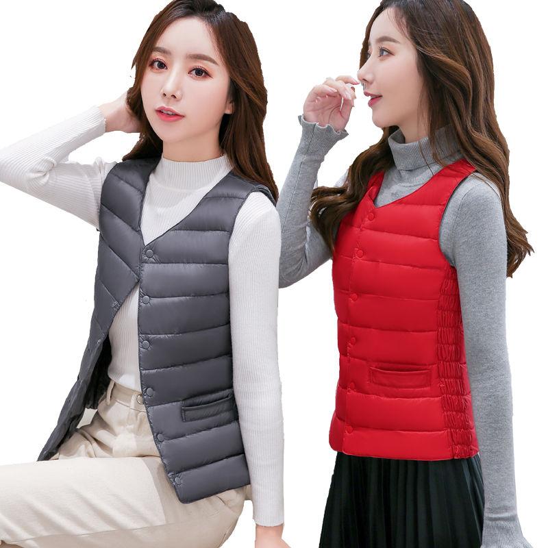 Down vest womens short winter vest, Korean version, light and warm, close fitting inner liner, slim body, vest and shoulder