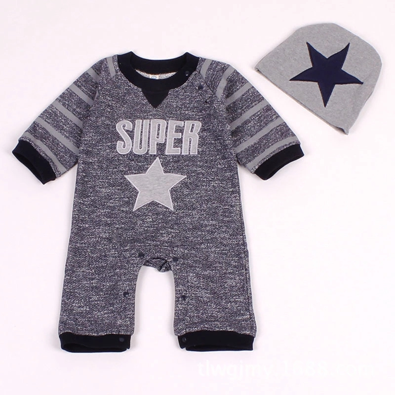Foreign trade popular baby clothes spring and autumn five star embroidery baby Jumpsuit long sleeve two piece climbing suit with hat