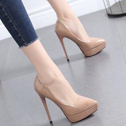 鞋子女2020新款豆沙色百搭女鞋尖头高跟鞋细跟防水台浅口单鞋12CM