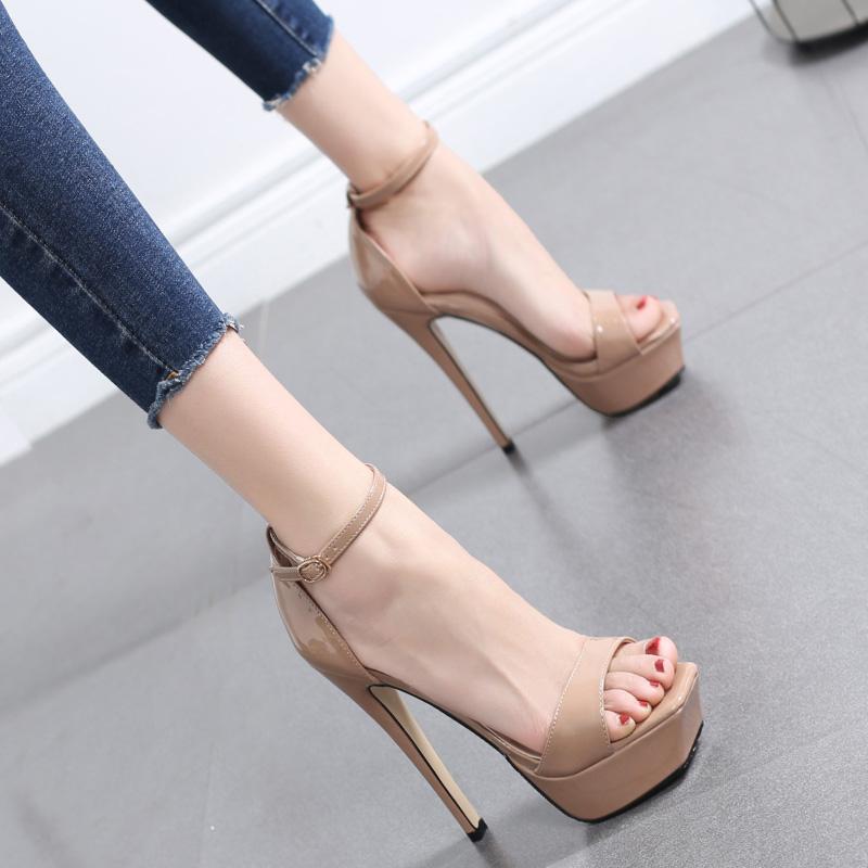 高跟鞋女细跟夏季新款12CM一字带凉鞋女性感防水台超高跟百搭女鞋