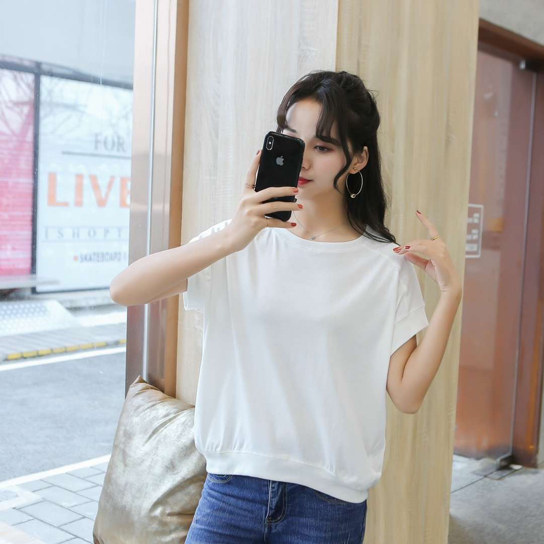 Yasa LAN button] short sleeve T-shirt for women in spring and summer of 2019
