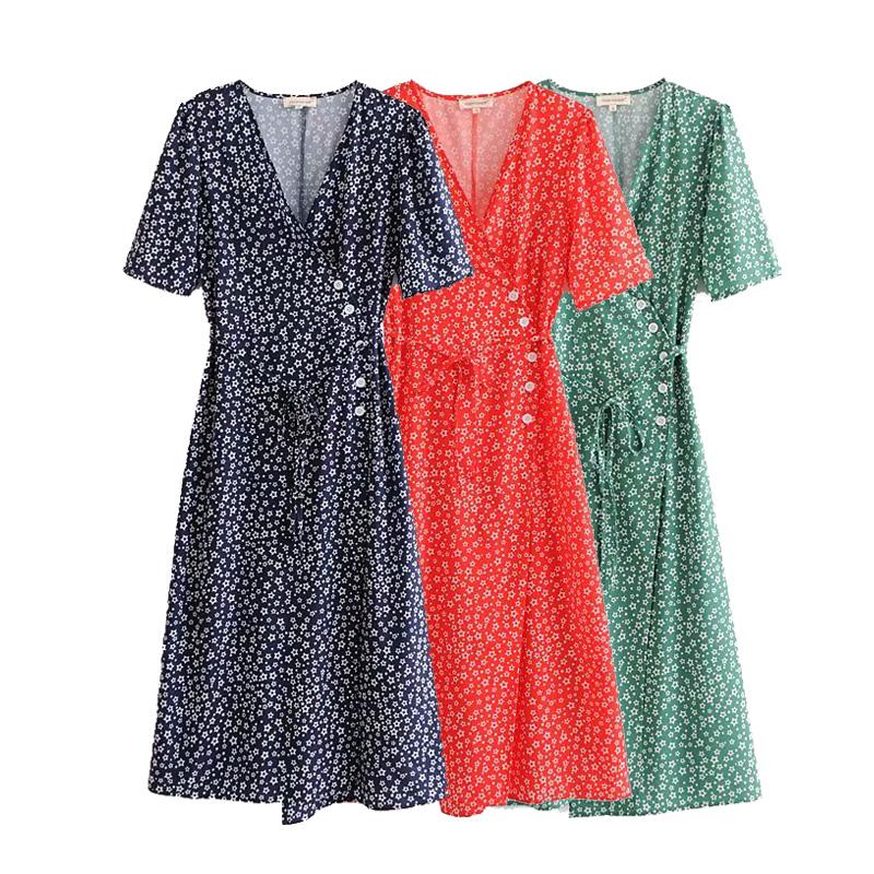 复古五角星印花裙单排扣系带收腰V领优雅耸肩泡泡短袖连衣裙长裙