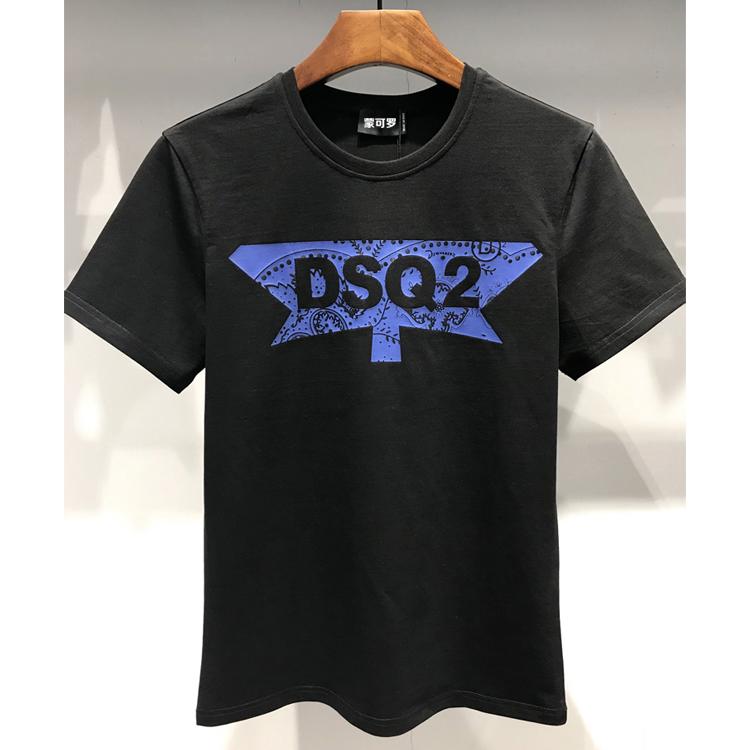 2019短袖T恤男装DSQ2字母半枫叶印花夏天上衣纯棉时尚修身T-shirt