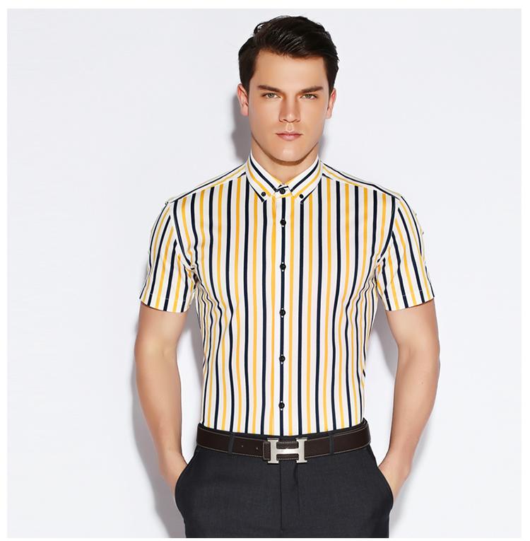 品牌男装修身款锯齿竖条纹短袖衬衫韩版潮流休闲半袖衬衣纯棉免烫