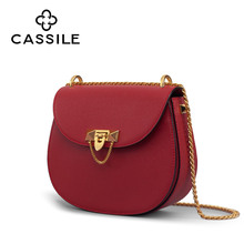 Slant Bag Girl 2019 New Cassile Cassler Cowskin Chain Saddle Bag Chao Girl Piggy Bag Single Shoulder Bag