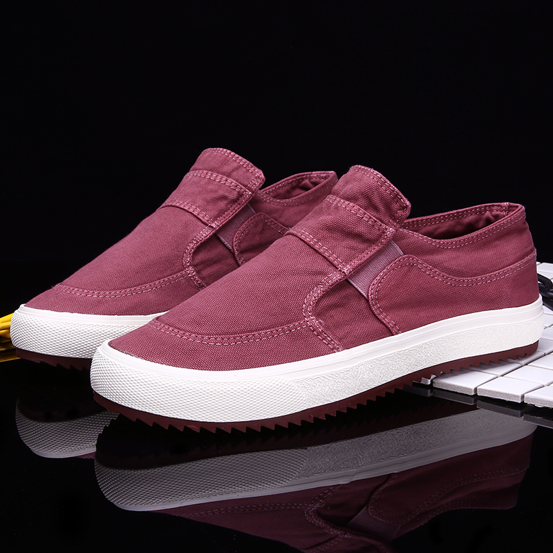 New type of canvas shoes mens shoes low top Korean fashion one foot lazy shoes mens casual shoes light and breathable
