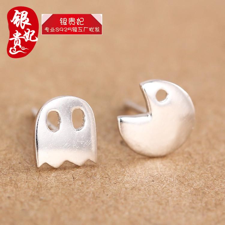 925 sterling silver jewelry fashion bean eating ghost EARRINGS CUTE simple smooth Earrings asymmetric Earrings