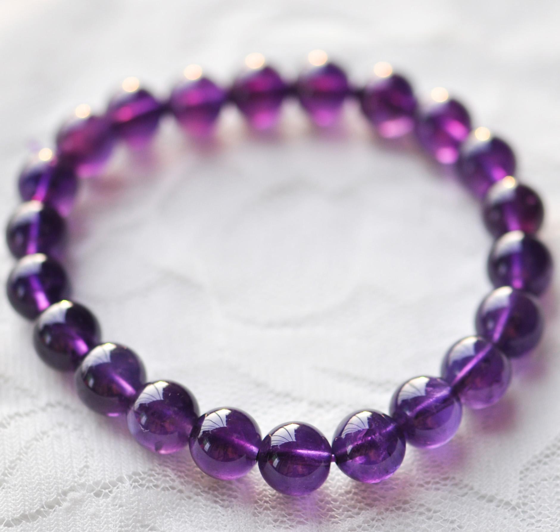紫水晶手链 纯天然水晶 时尚女性紫晶手链 爱情守护石 旺爱情