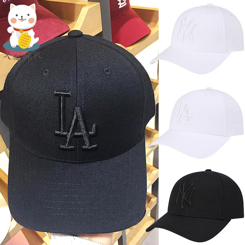 券后176.00元韩国MLB棒球帽男女NY鸭舌帽黑色黑标洋基队LA道奇队白色白标帽子