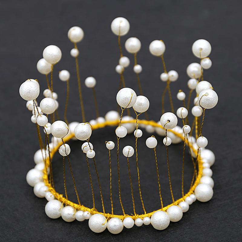 蛋糕烘焙头饰生日装饰儿童皇冠手工珍珠插件摆件新娘头饰品(非品牌)