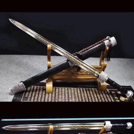 龙泉冷兵器镇宅刀剑花纹钢长剑八面汉一体锰钢手工剑秦刀剑未开刃