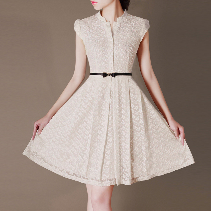 2018夏装新款OL优雅蕾丝雪纺立领包袖大摆裙连衣裙C78鸢有大码