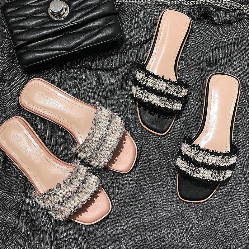时尚外穿凉拖女2021夏季新款珍珠拖鞋女百搭平底方头沙滩一字拖