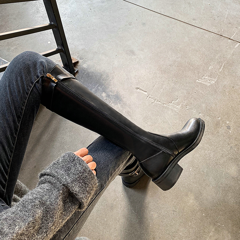Thick heel boots no more than knee high boots women's riding boots 2019 winter new middle heel side zipper high boots