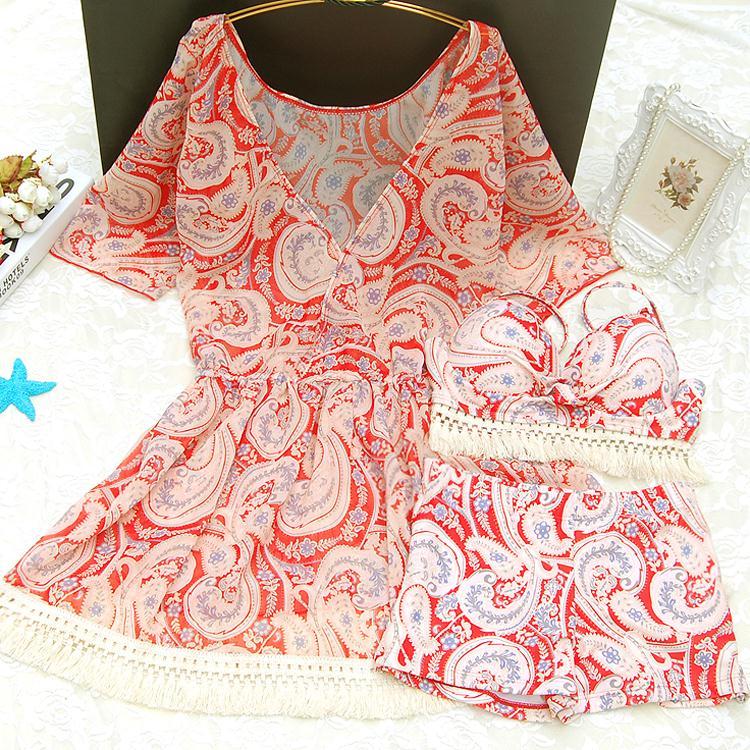 11-16新券韩国温泉大码泳衣女胖mm遮肚性感裙式比基尼三件套聚拢显瘦宽松
