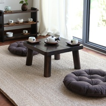 Solid wood tatami coffee table Japanese floating window table solid wood burning tung wood square table floating window table Table modern simplicity