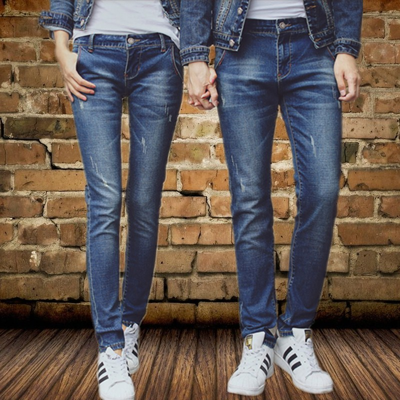 Casual stretch jeans men and womens autumn and winter slim fit the same pair of tight Unisex small leg long pants