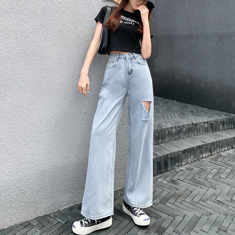 高腰垂感宽松直筒裤子显瘦新款破洞拖地阔腿牛仔裤女潮九分裤夏季图片