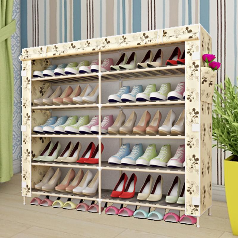 实木简易多层鞋架多功能 防尘布鞋柜 收纳组装宿舍家用经济型