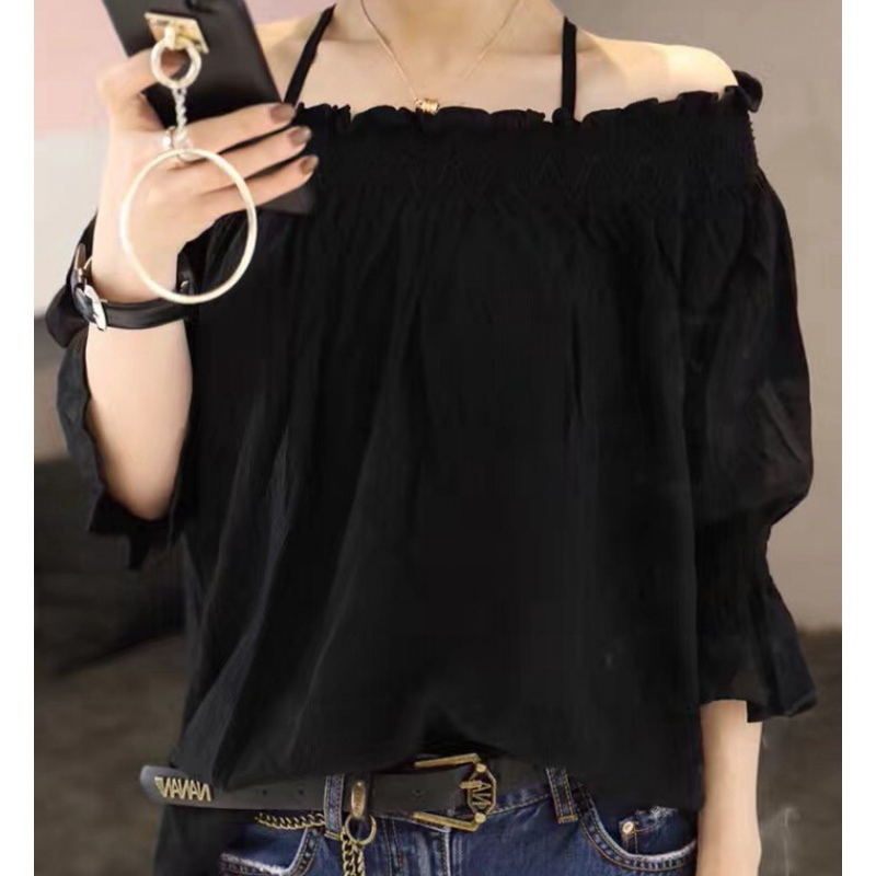 Europe 2020 womens summer new European goods Korean fashion one collar off shoulder chiffon shirt with foreign style
