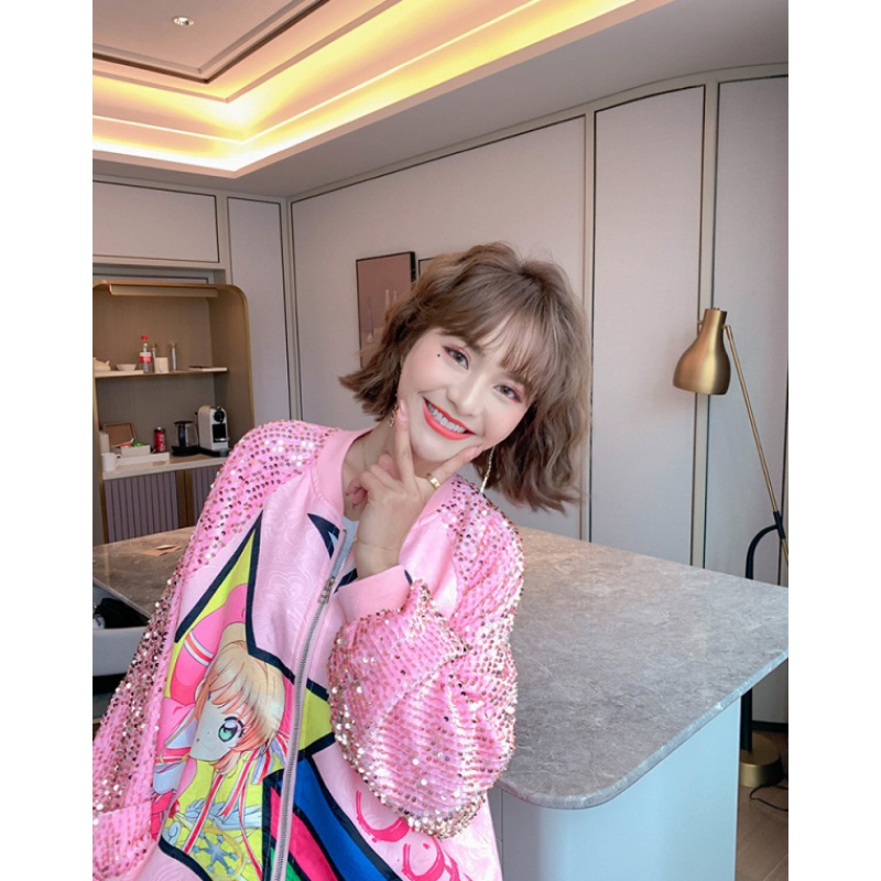 Thailand fashion 2020 new foreign style printed Sequin baseball uniform loose medium length fairy jacket jacket