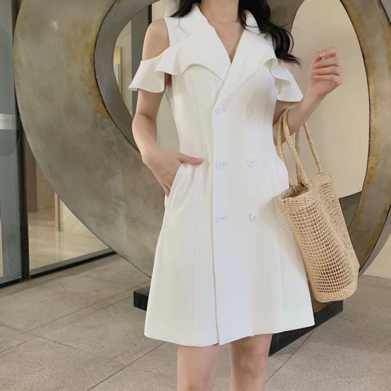 2020 summer new Korean style slim waist style off shoulder fashion small short sleeve suit dress