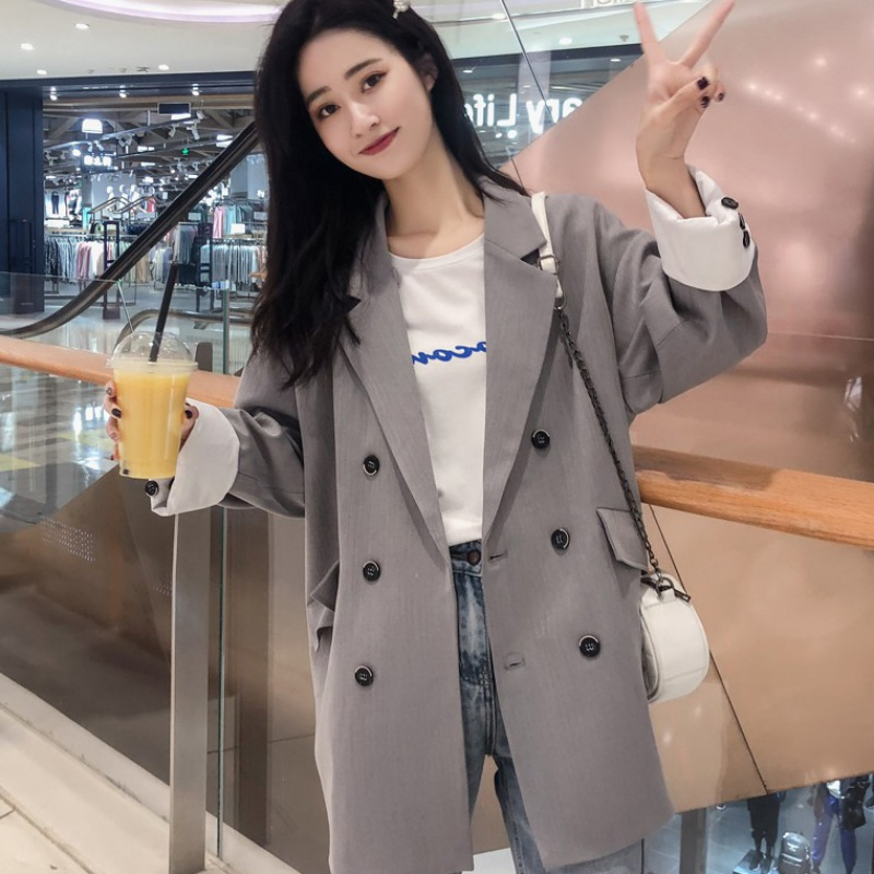 Small suit coat womens spring and autumn 2020 new Korean British style womens suit top casual and loose